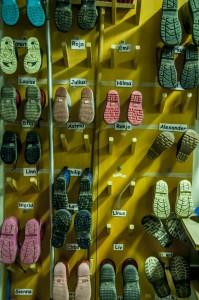 Children's winter shoes at a Stockholm pre-school
