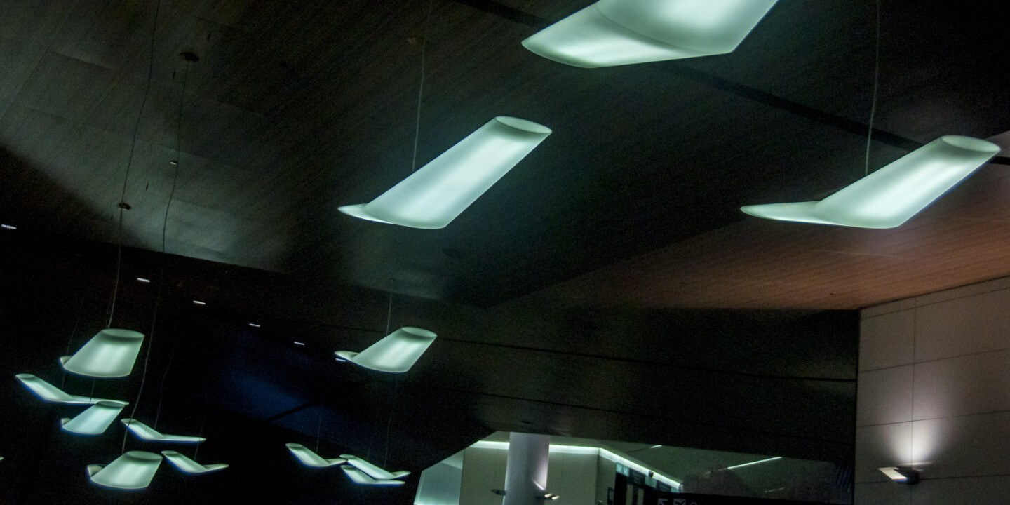 Lighting at San Francisco airport modelled on aircraft wings.